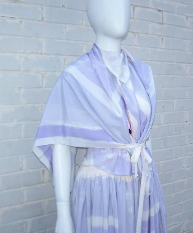 Women's Lovely 1970's Michaele Vollbracht Pastel Silk Halter Dress With Wrap For Sale