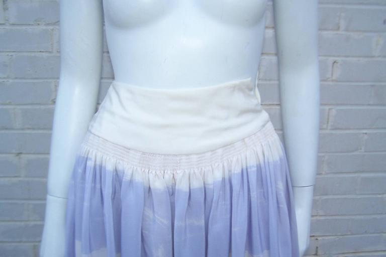 Lovely 1970's Michaele Vollbracht Pastel Silk Halter Dress With Wrap For Sale 4