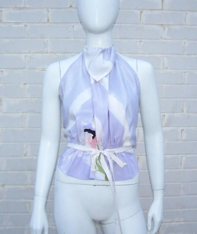 Lovely 1970's Michaele Vollbracht Pastel Silk Halter Dress With Wrap For Sale 3