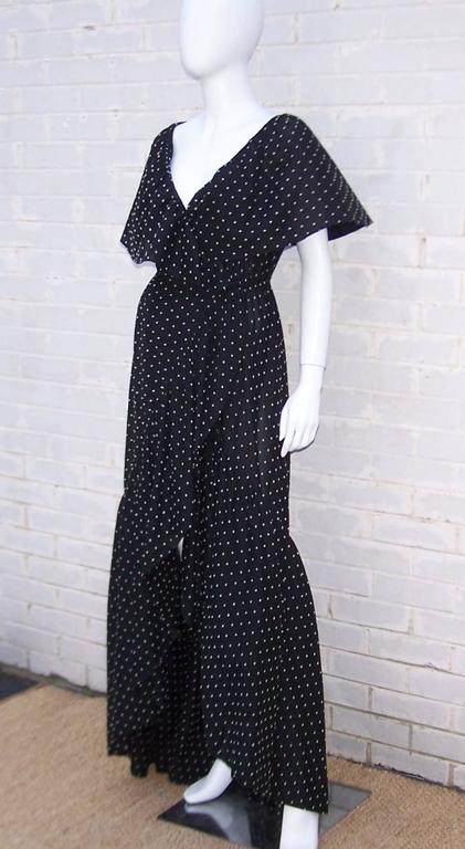 Free Spirited 1970's Halston Swiss Dot Wrap Dress For Sale 1
