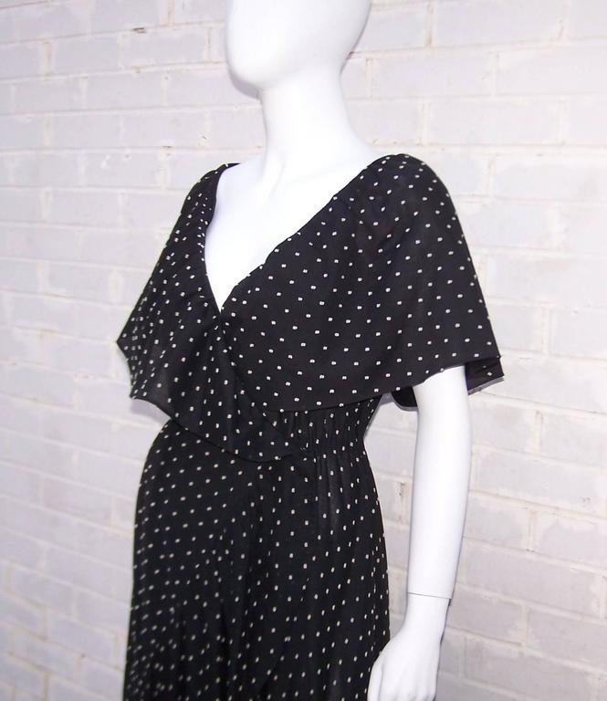 Free Spirited 1970's Halston Swiss Dot Wrap Dress For Sale 2