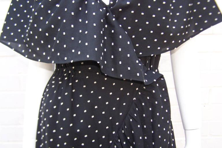 Black Free Spirited 1970's Halston Swiss Dot Wrap Dress For Sale