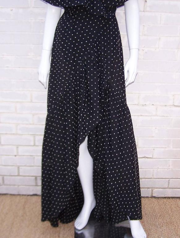Free Spirited 1970's Halston Swiss Dot Wrap Dress In Excellent Condition For Sale In Atlanta, GA