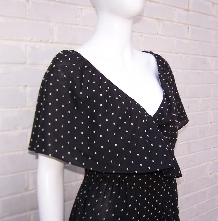Free Spirited 1970's Halston Swiss Dot Wrap Dress 8