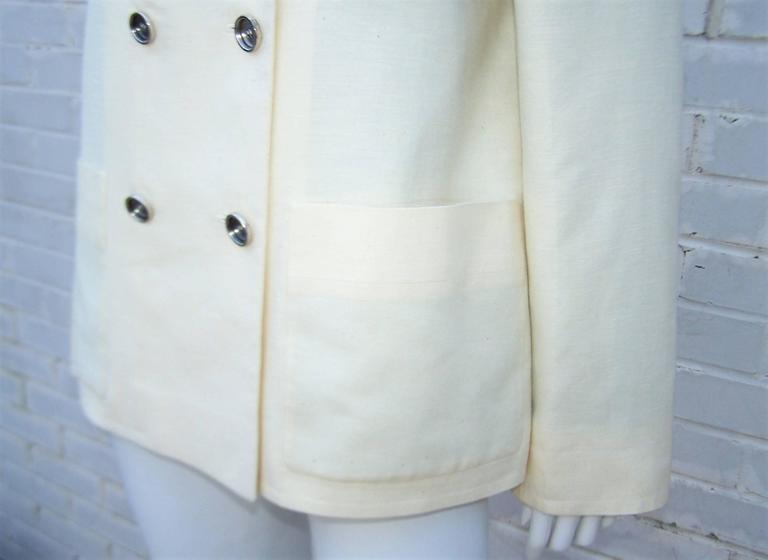 Deconstructed Balenciaga Linen Double Breasted Jacket  In Excellent Condition For Sale In Atlanta, GA