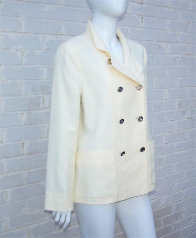 Women's Deconstructed Balenciaga Linen Double Breasted Jacket  For Sale
