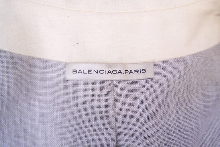 Deconstructed Balenciaga Linen Double Breasted Jacket  For Sale 5