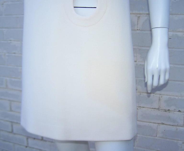 Space Age 1960's Pierre Cardin Mod A-Line Dress Featuring Cut Out Design For Sale 4