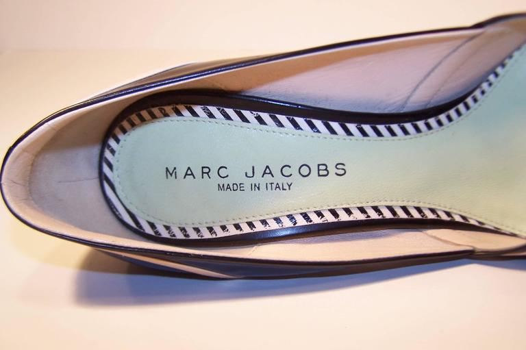 Pin Up Girl Style Marc Jacobs Two Tone Leather Pumps Sz 38 For Sale 5