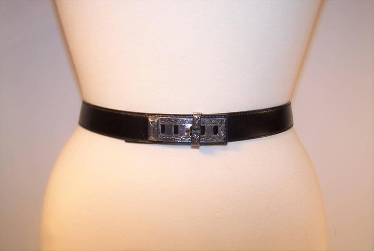 Black 2001 Hermes Sterling Silver Touareg Collier De Chien Belt