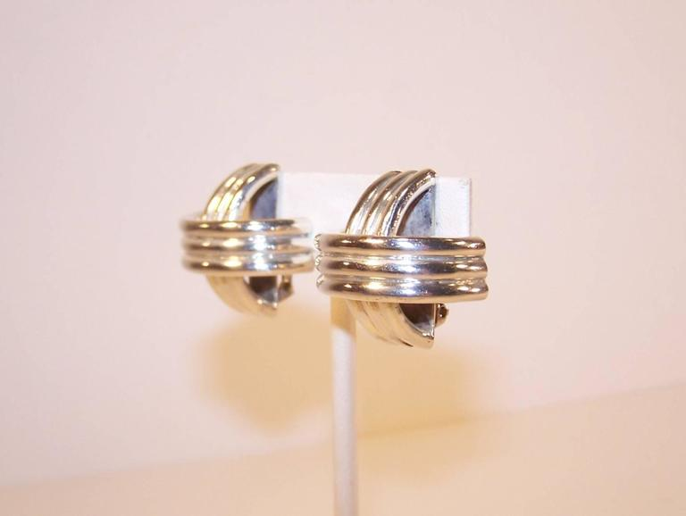 Modernist 1980's Ture Designs Sterling Silver Clip On Earrings For Sale 1