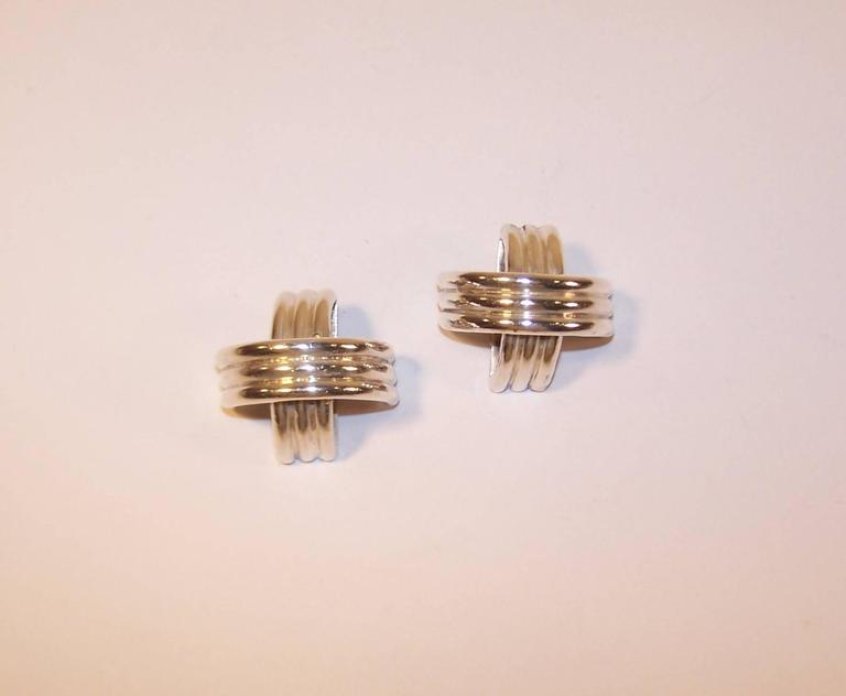 Modernist 1980's Ture Designs Sterling Silver Clip On Earrings For Sale 4