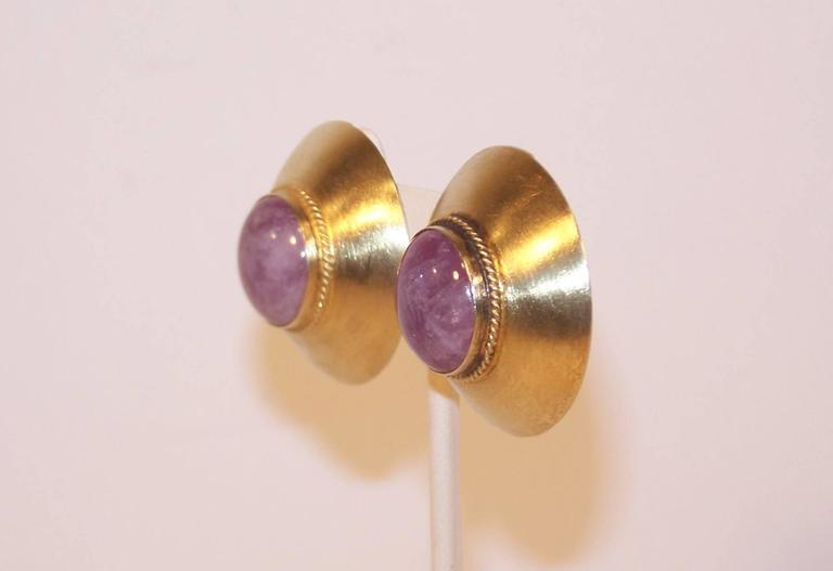 Men's Modernist 1985 Kalibre Sterling Vermeil Dome Amethyst Quartz Earrings For Sale