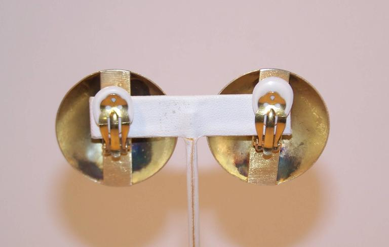Modernist 1985 Kalibre Sterling Vermeil Dome Amethyst Quartz Earrings For Sale 1