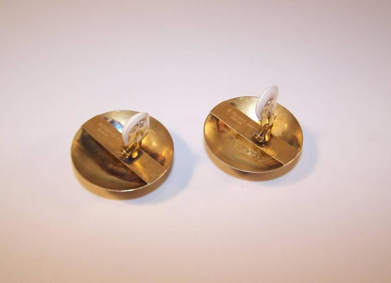 Modernist 1985 Kalibre Sterling Vermeil Dome Amethyst Quartz Earrings For Sale 2