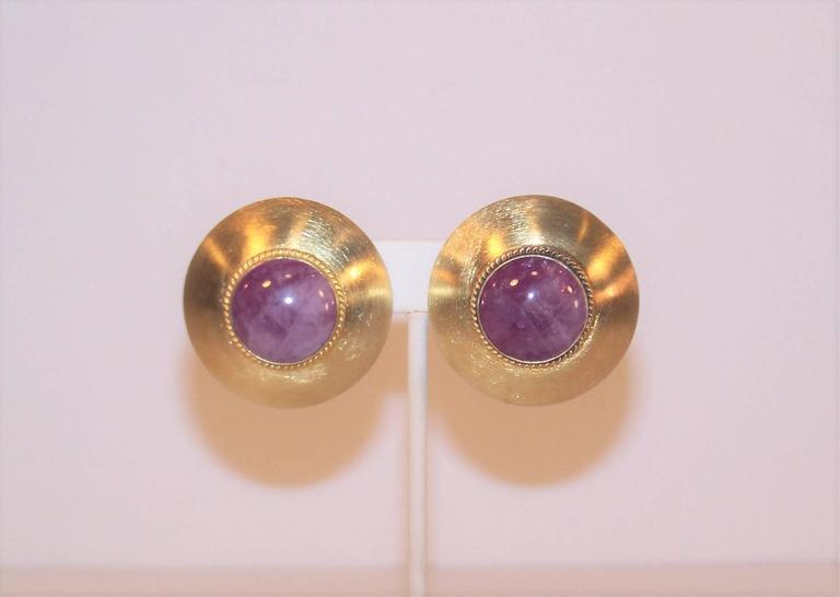Modernist 1985 Kalibre Sterling Vermeil Dome Amethyst Quartz Earrings For Sale 6