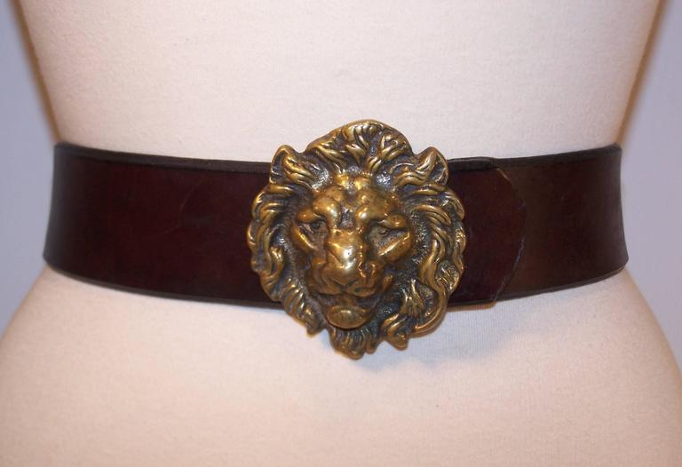 Black C.1970 Brass Lion & Brown Leather Belt Made in England for Lord & Taylor For Sale