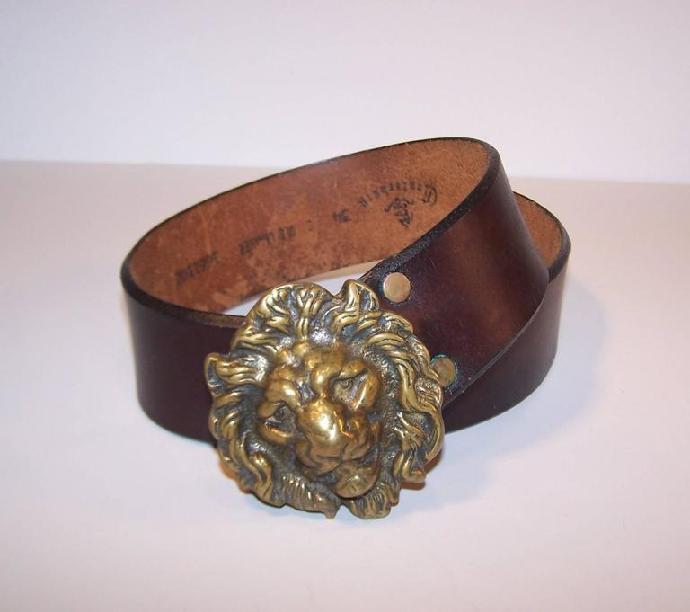Women's or Men's C.1970 Brass Lion & Brown Leather Belt Made in England for Lord & Taylor For Sale