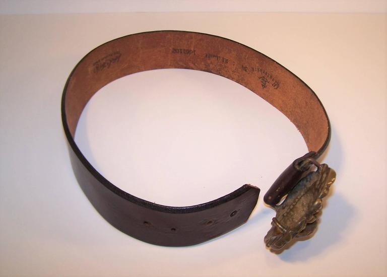 C.1970 Brass Lion & Brown Leather Belt Made in England for Lord & Taylor For Sale 1