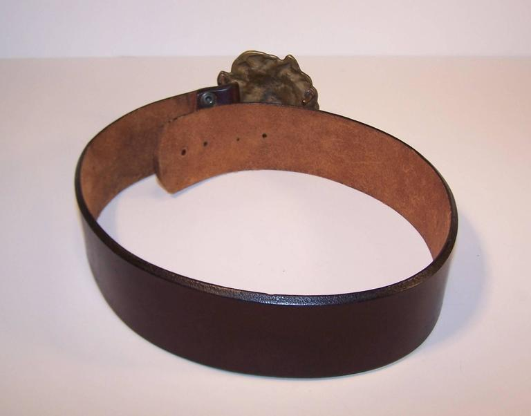C.1970 Brass Lion & Brown Leather Belt Made in England for Lord & Taylor For Sale 2