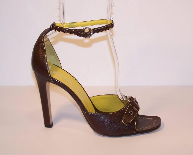 Prada Brown Leather Sandals With Ankle Straps & Buckles Sz 38 For Sale 1