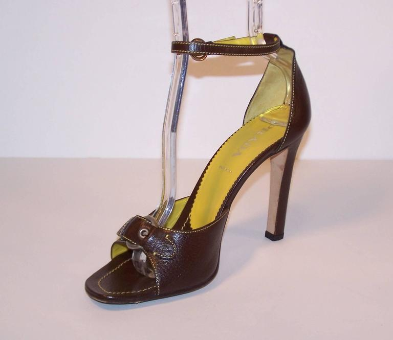 Prada Brown Leather Sandals With Ankle Straps & Buckles Sz 38 For Sale 2