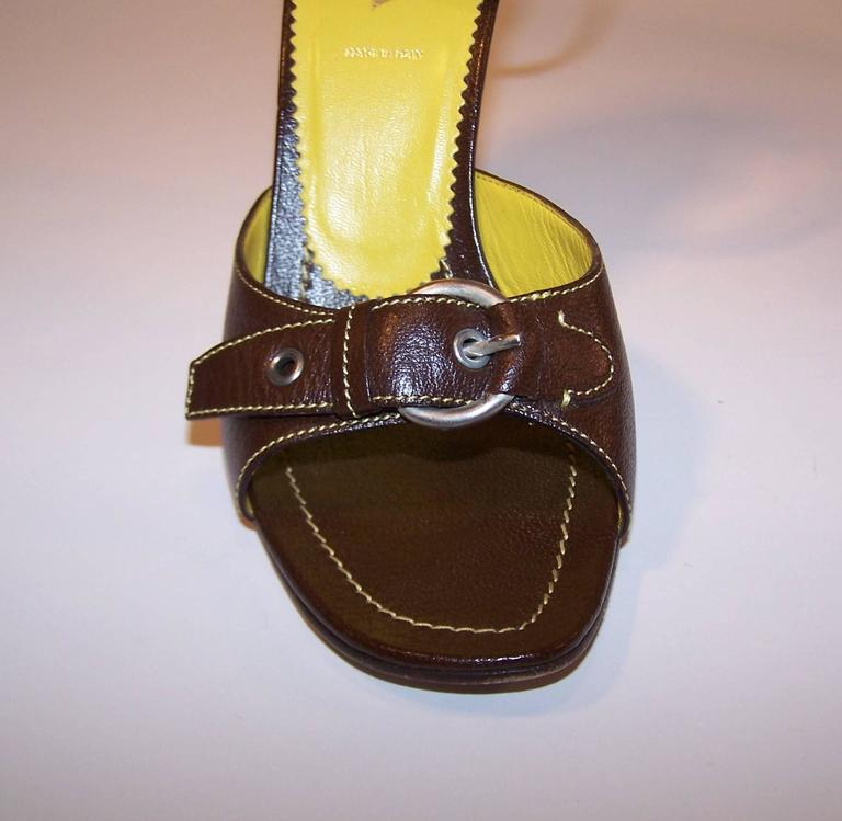 Prada Brown Leather Sandals With Ankle Straps & Buckles Sz 38 For Sale 4