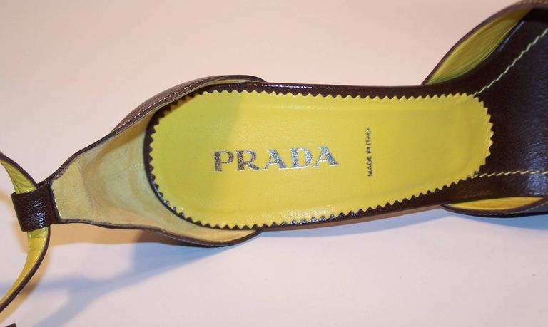 Prada Brown Leather Sandals With Ankle Straps & Buckles Sz 38 For Sale 6