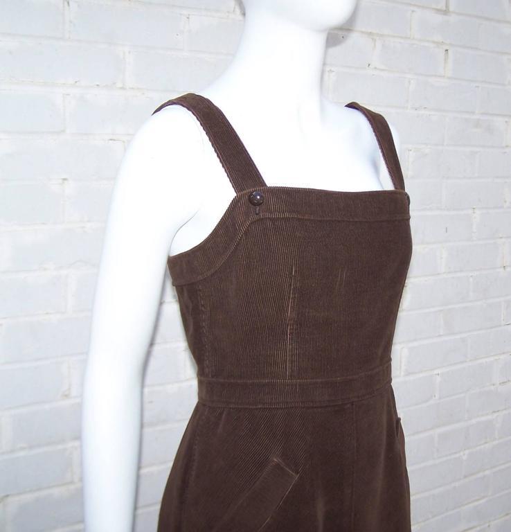 Adorable 1960 S Courreges Brown Corduroy Jumper Dress For