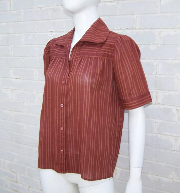 Brown 1970's Yves Saint Laurent Rive Gauche 40's Style Linen Top For Sale