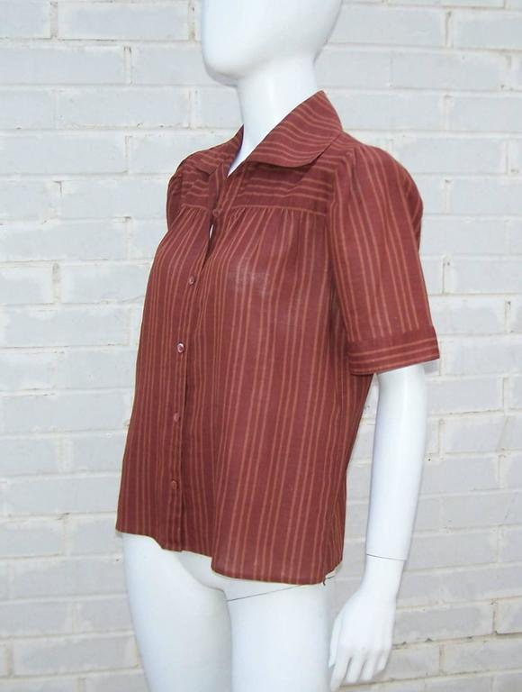 1970's Yves Saint Laurent Rive Gauche 40's Style Linen Top In Good Condition For Sale In Atlanta, GA