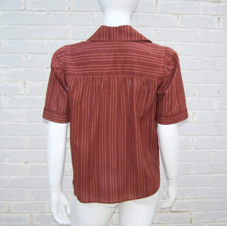 Women's 1970's Yves Saint Laurent Rive Gauche 40's Style Linen Top For Sale
