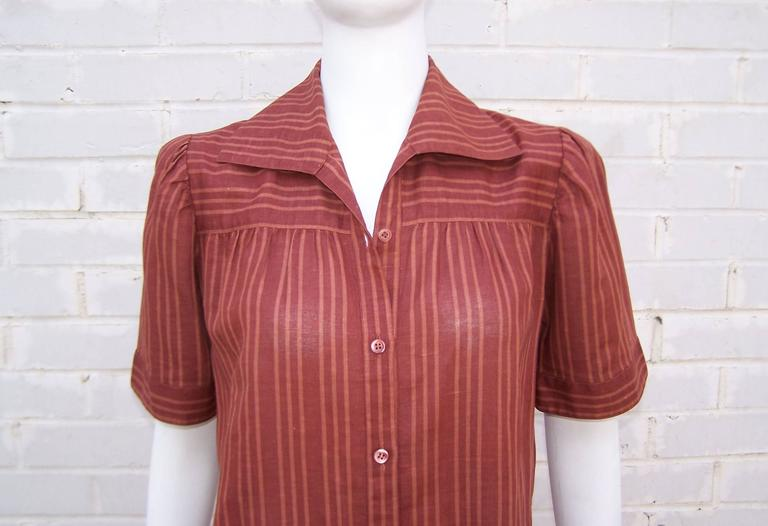 1970's Yves Saint Laurent Rive Gauche 40's Style Linen Top For Sale 1