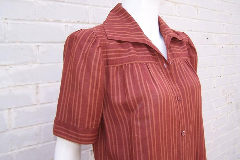 1970's Yves Saint Laurent Rive Gauche 40's Style Linen Top For Sale 2
