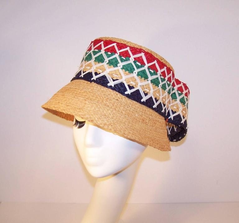 Beige Colorful 1950's Italian Straw Resort Wear Beach Hat For Sale