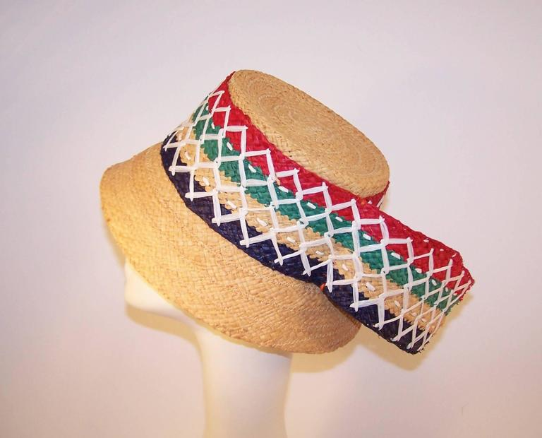 Colorful 1950's Italian Straw Resort Wear Beach Hat In New Never_worn Condition For Sale In Atlanta, GA