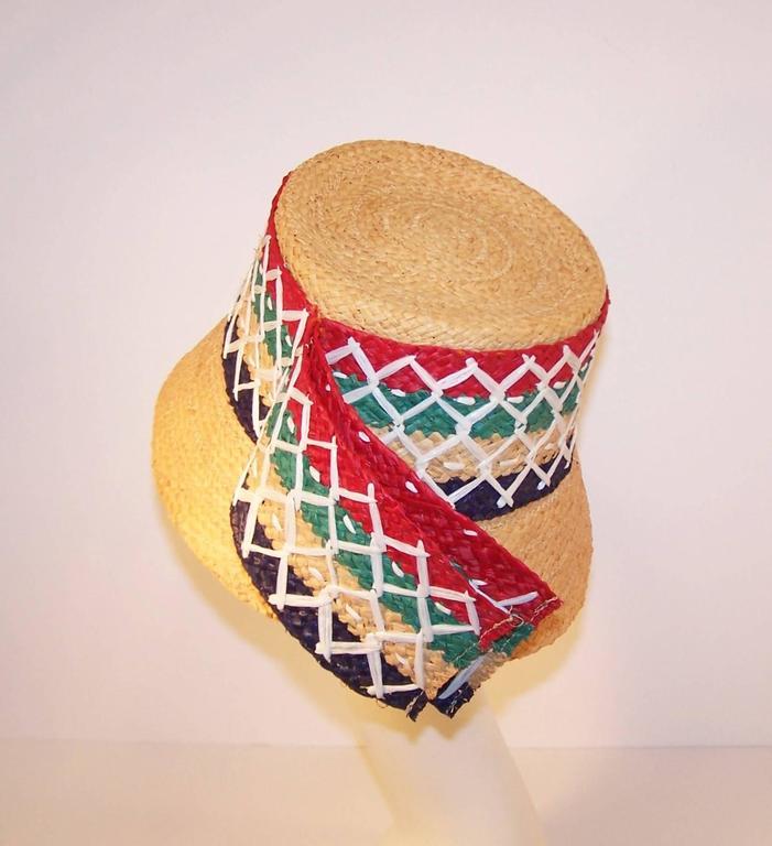Women's Colorful 1950's Italian Straw Resort Wear Beach Hat For Sale