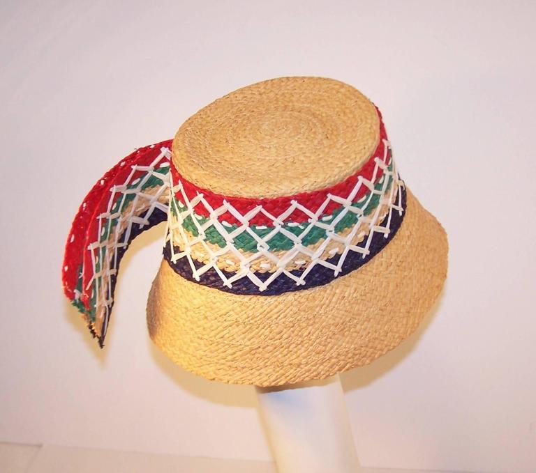 Colorful 1950's Italian Straw Resort Wear Beach Hat For Sale 1