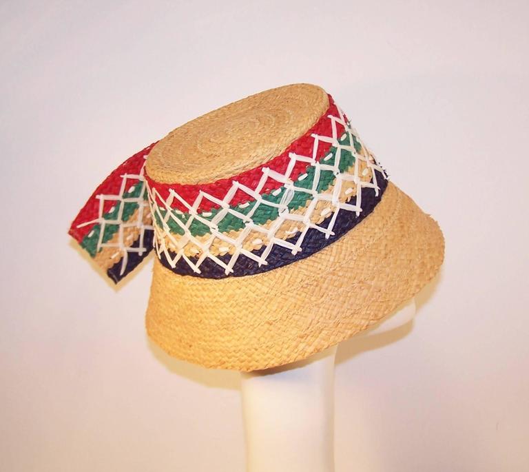 Colorful 1950's Italian Straw Resort Wear Beach Hat For Sale 2