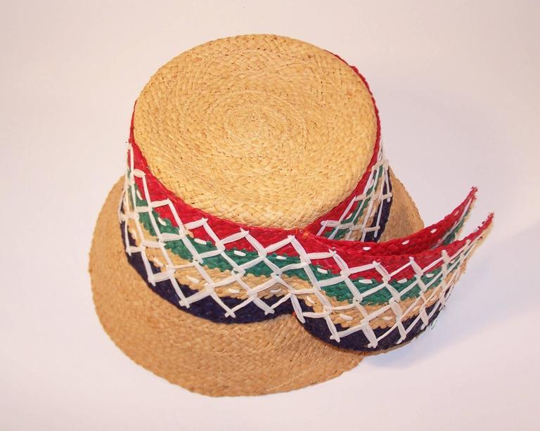 Colorful 1950's Italian Straw Resort Wear Beach Hat For Sale 3