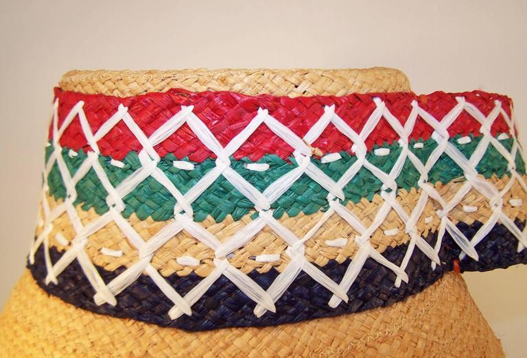 Colorful 1950's Italian Straw Resort Wear Beach Hat For Sale 4