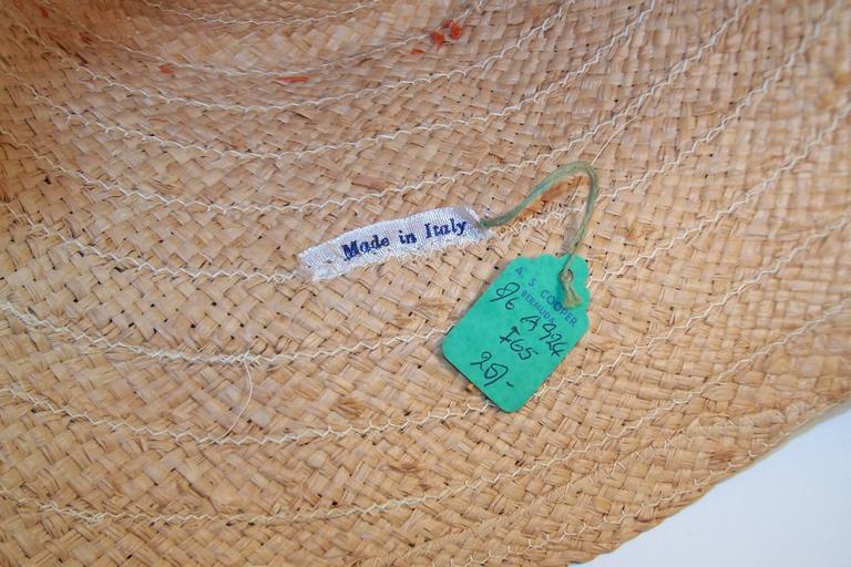 Colorful 1950's Italian Straw Resort Wear Beach Hat For Sale 5