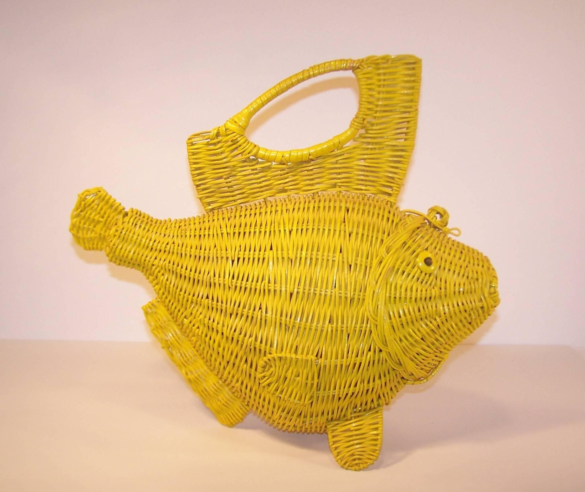 Whimsical 1950\'s Large Yellow Wicker Fish Novelty Handbag at 1stdibs