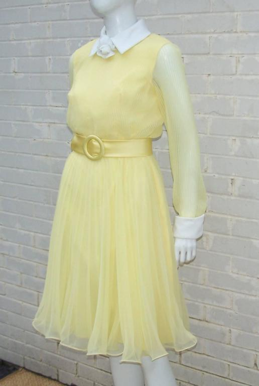 C 1970 Miss Elliette Sunny Yellow Chiffon Dress At 1stdibs