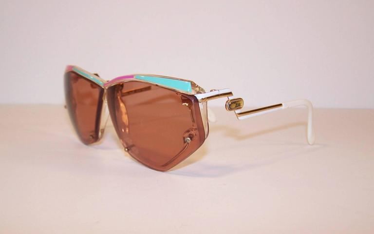 ee4cbf0e5d Mod C.1980 Cazal Space Age Pink and Green Sunglasses For Sale at 1stdibs