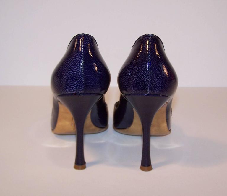 Women's Classic Christian Lacroix Blue Patent Leather Stiletto Pumps Sz 38 For Sale