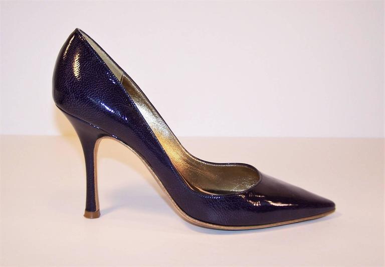 Classic Christian Lacroix Blue Patent Leather Stiletto Pumps Sz 38 For Sale 2
