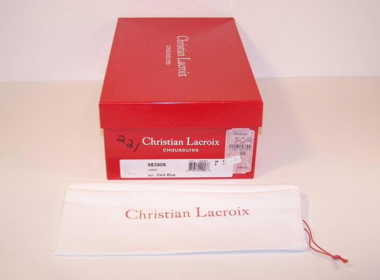 Classic Christian Lacroix Blue Patent Leather Stiletto Pumps Sz 38 For Sale 5