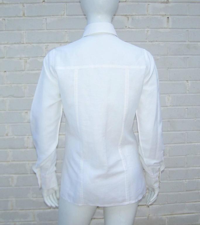 Crisp 1970's Gucci White Linen Shirt With Nautical Enamel Logo Buttons For Sale 3