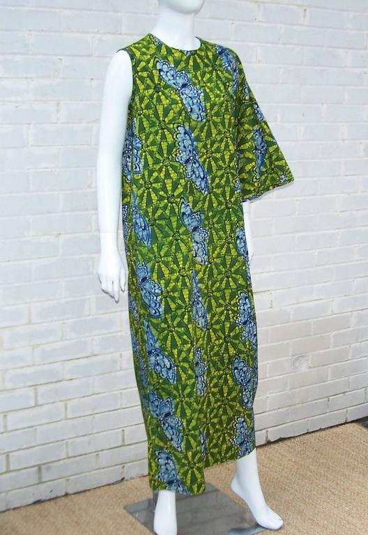 Gray Exotic 1960's Colorful Batik Caftan With Butterfly Motif  For Sale